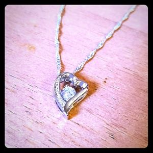 Silver necklace with Crystal Heart Charm